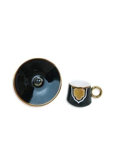 Sembol Siyah Altın Rumi Desenli 6 Lı Fincan Takım Renkli